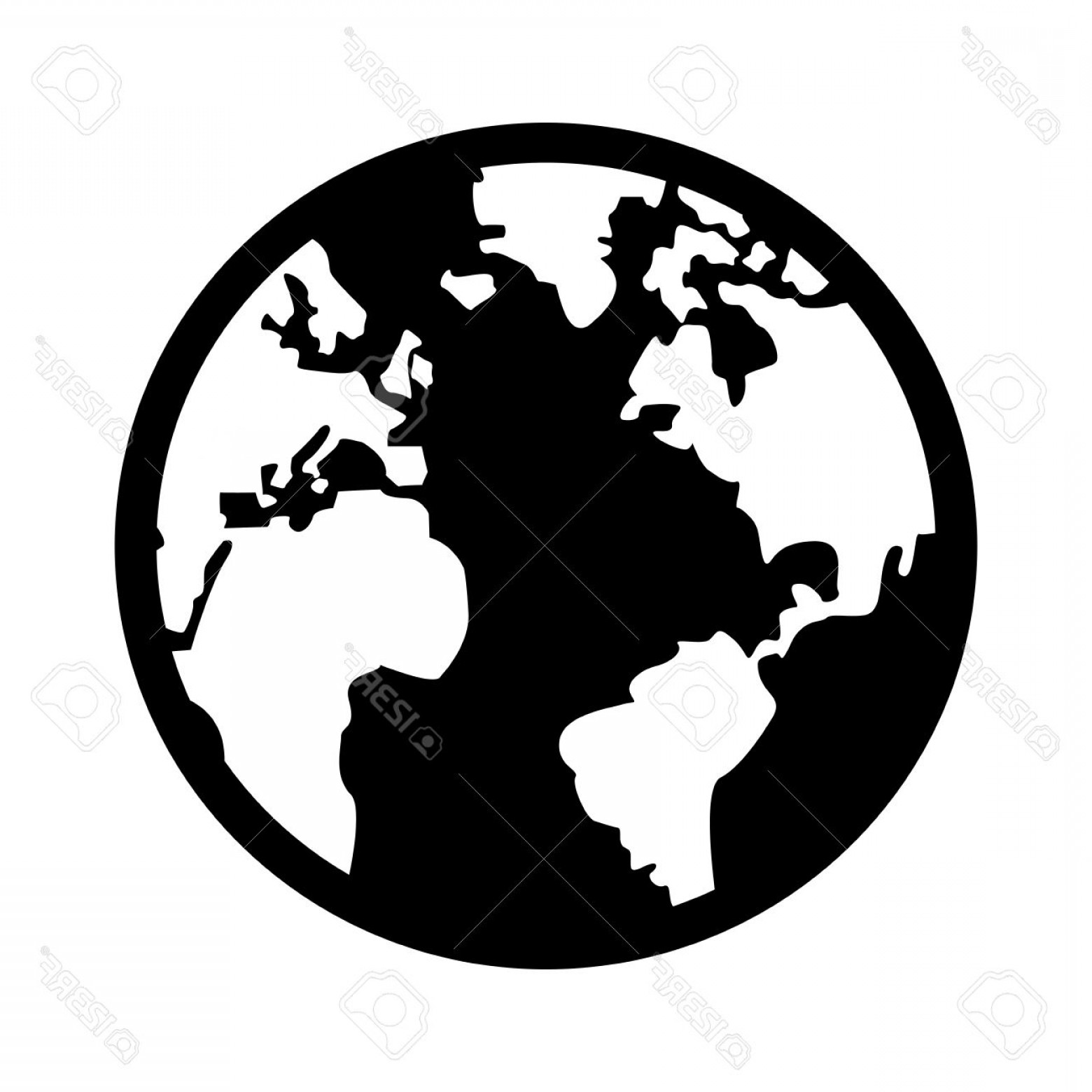 1560x1560 Photostock Vector Black And White Earth Globe With Distinction