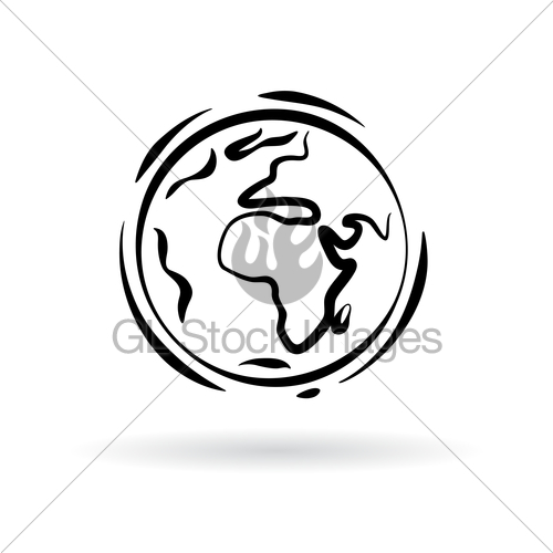500x500 Abstract Planet Earth Icon Isolated On White Background Gl