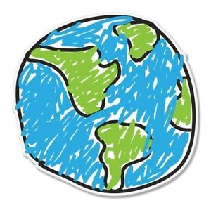 300x299 Earth Drawing Design Car Vinyl Sticker