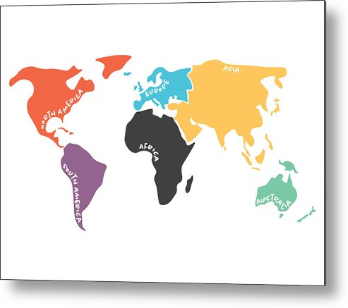 493x437 Multicolored Simplified World Map Divided To Continents Metal