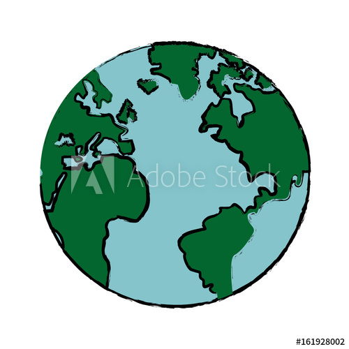 500x500 Drawing Global World Earth Map Atlas Vector Illustration