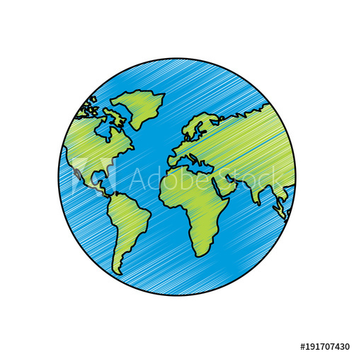 500x500 Earth Planet World Globe Map Icon Vector Illustration Drawing