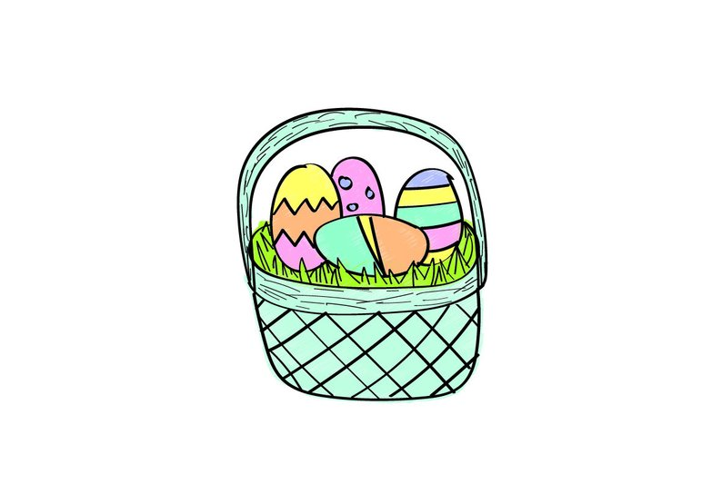 794x533 Easter Basket Digital Drawing Etsy