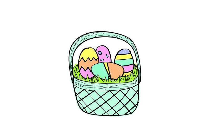 794x533 Easter Basket Digital Drawing Etsy
