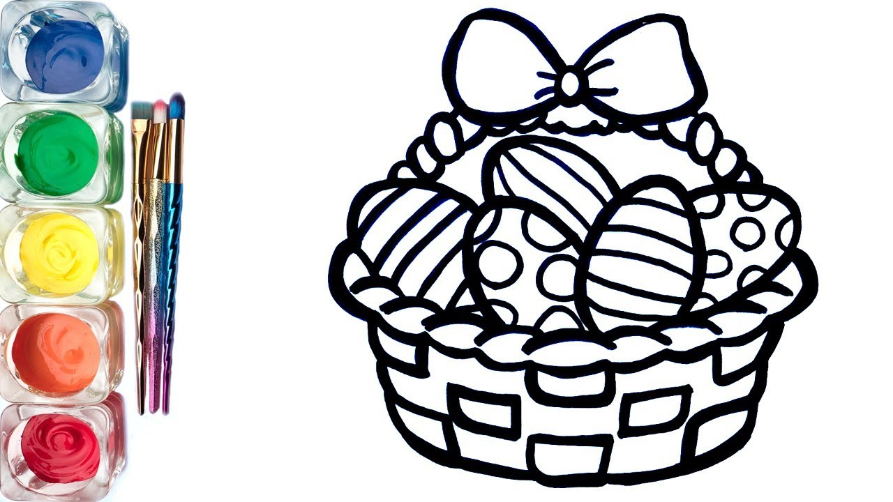 1280x720 Easter Basket With Surprise Eggs Drawing And Colouring