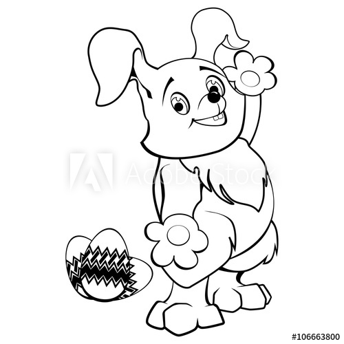 500x500 Vector Line Drawing Of Easter Bunny