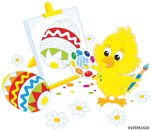 500x434 Easter Chick Drawing A Colorfully Decorated Egg On His Canvas