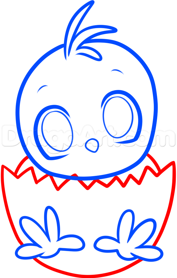 597x939 How To Draw An Easter Chick, Step