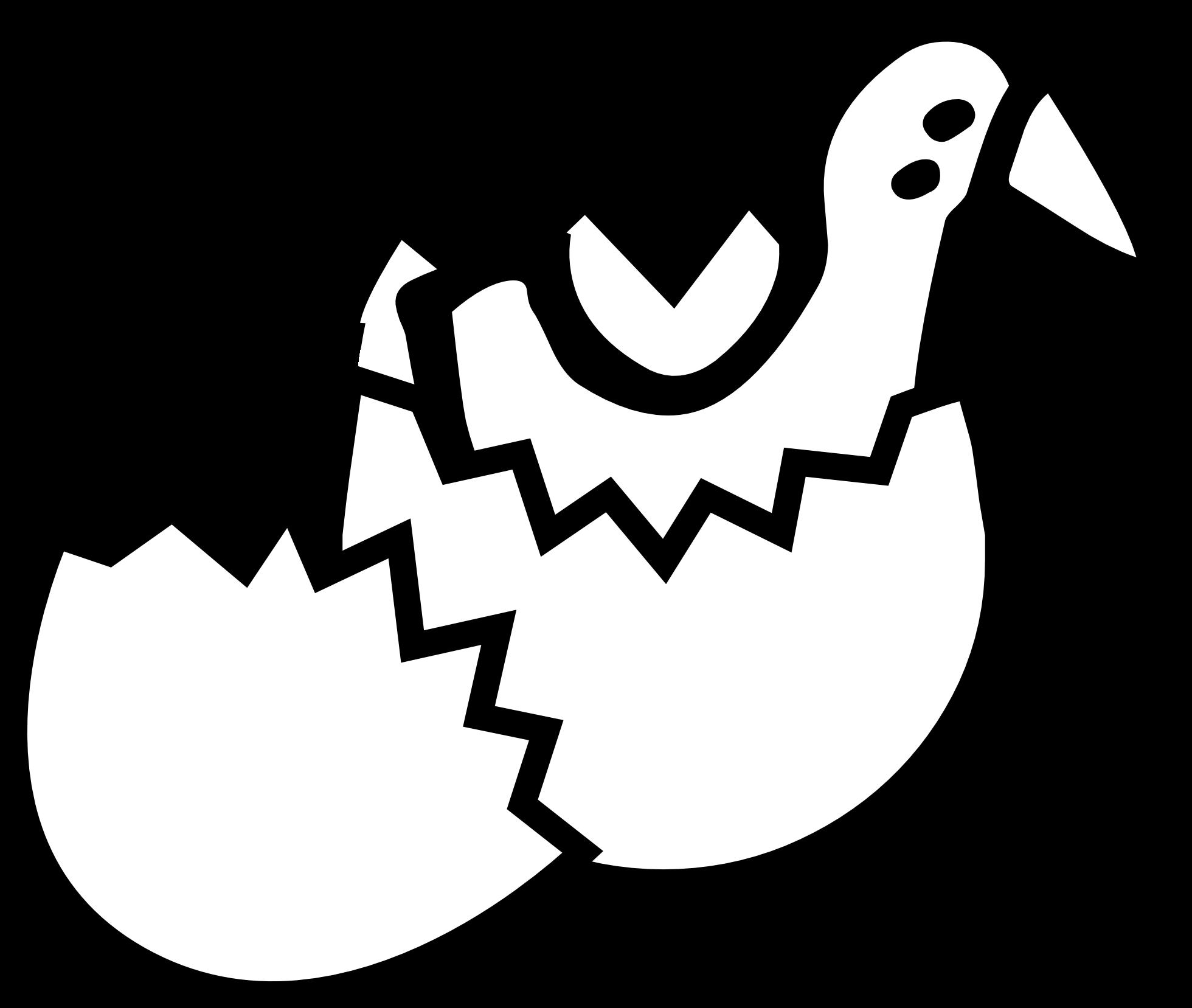 1960x1657 Chick From Egg Black White Line Easter