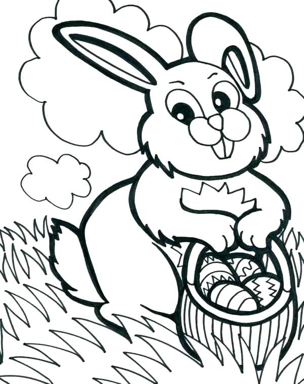 600x758 Easter Bunny Basket Coloring