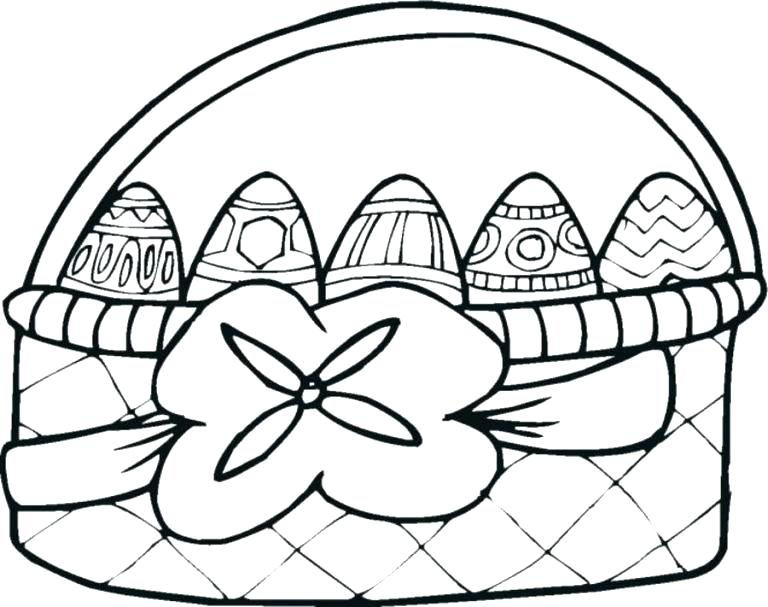 768x607 Easter Egg Basket Coloring Pages Coloring Pages Of Eggs Combined