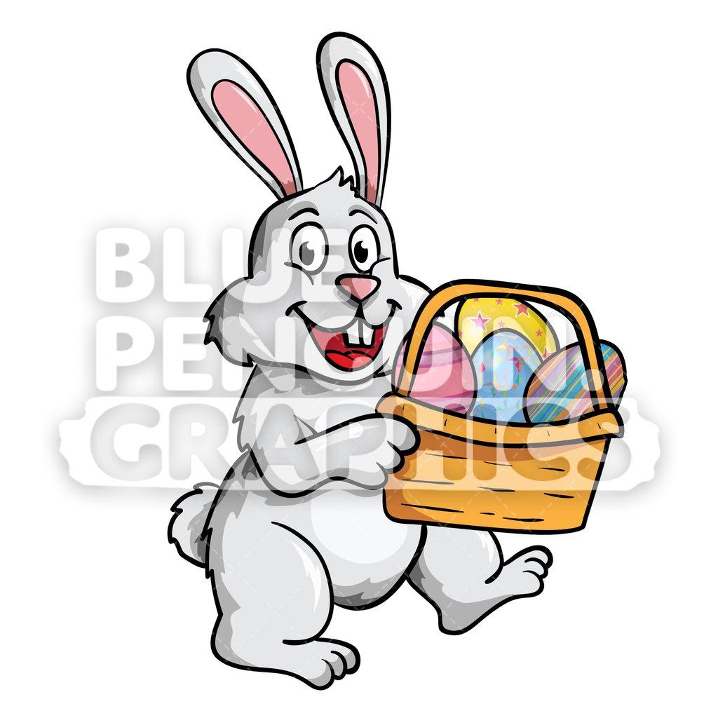 1024x1024 Easter Rabbit Eggs Basket Vector Cartoon Clipart Illustration