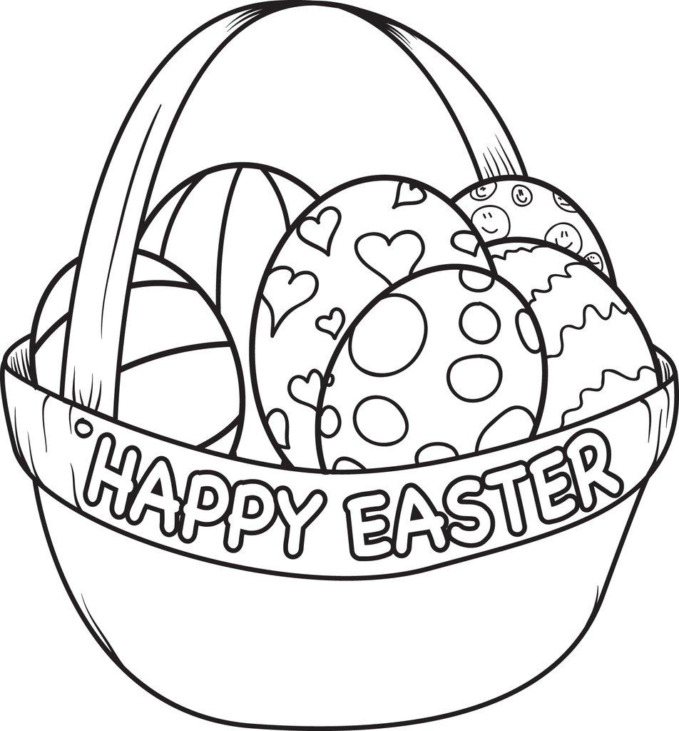 952x1024 Free Printable Easter Egg Basket Coloring