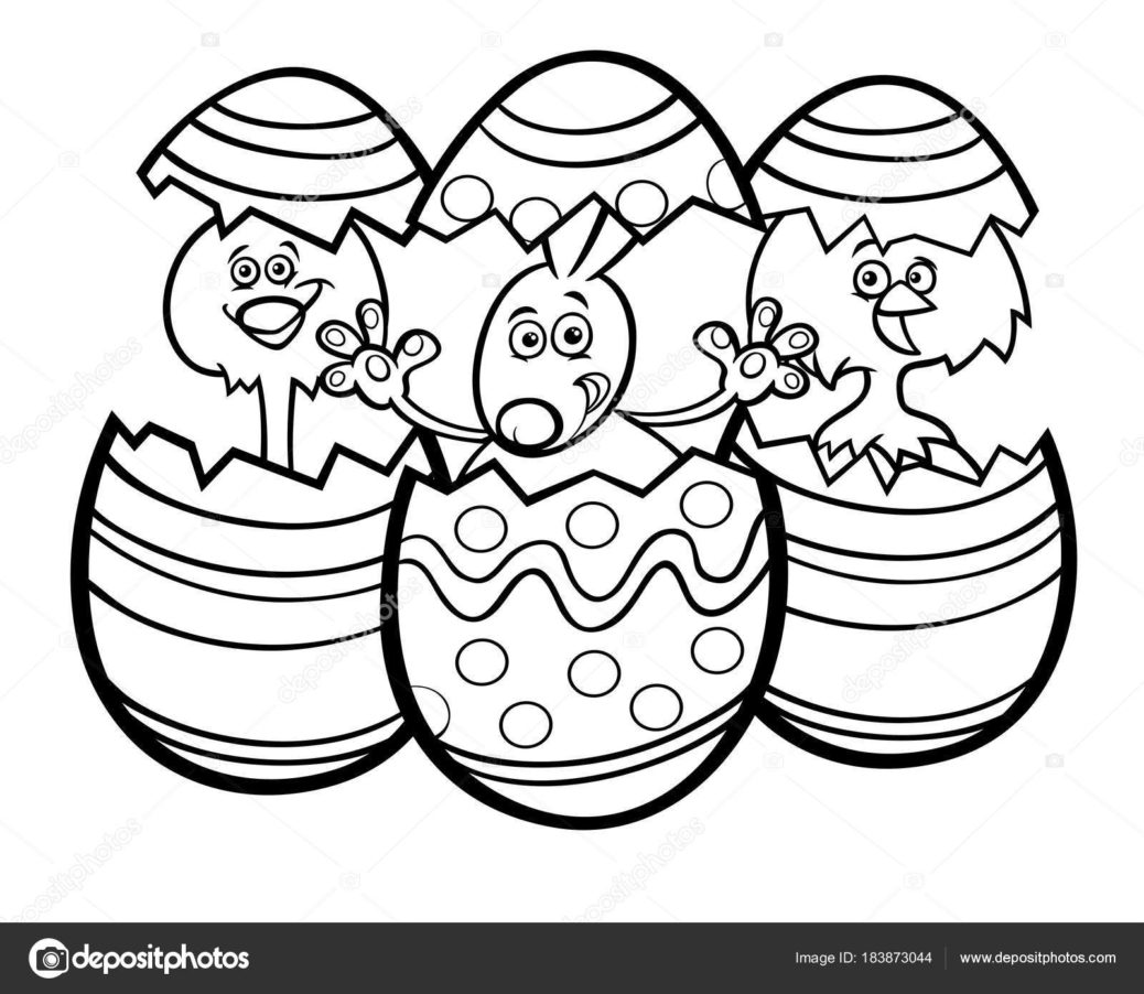 1038x902 Easter Bunny And Chickens Color Book Stock Vector Coloring
