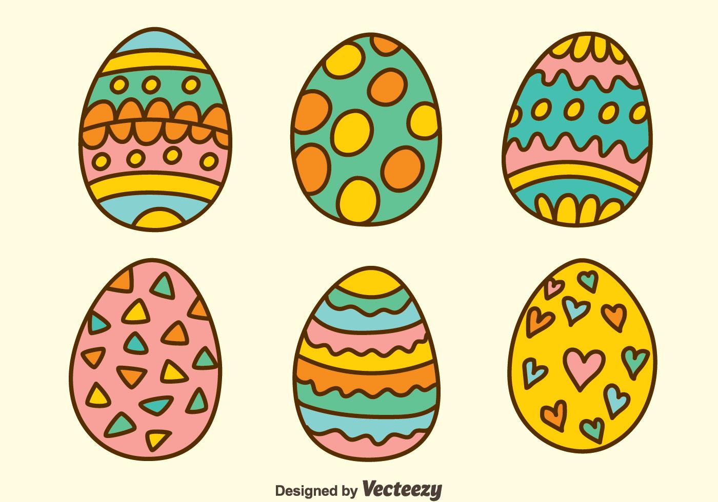 1400x980 Hand Drawn Easter Eggs Vectors