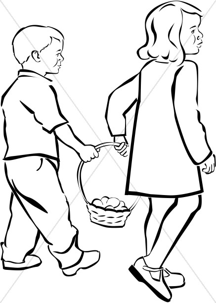 437x612 Kids Holding Easter Basket In Black And White Easter Egg Clipart