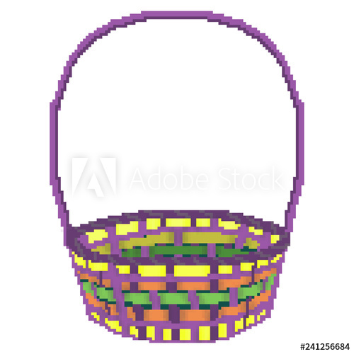 500x500 Pixel Bit Drawn Multicolored Easter Egg Hunting Basket