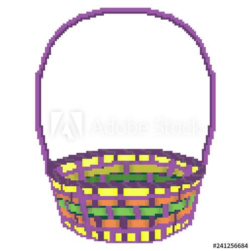 500x500 Pixel Bit Drawn Multicolored Easter Egg Hunting Basket