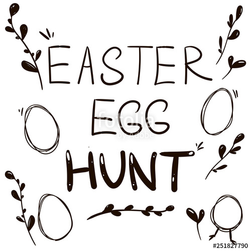 500x500 Vector Happy Easter Hunt Eggs Hand Drawn Stock Image And Royalty