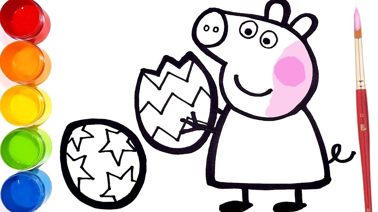 1280x720 Draw And Color Peppa Pig Easter Egg Hunt For Kids, Toddlers