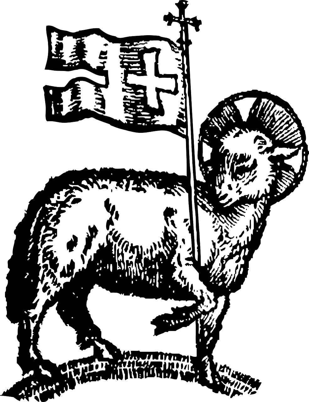 985x1280 paschal lamb, easter, lamb, flag, holidays