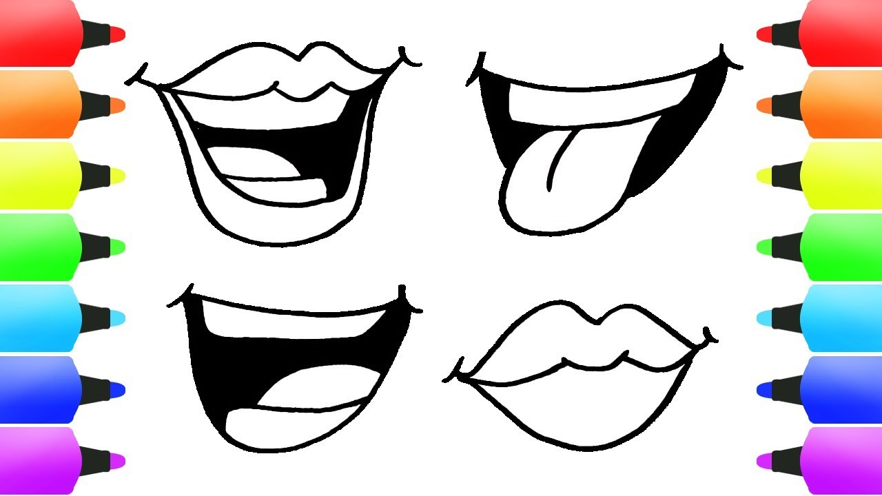 1280x720 Easy Cartoon Drawing For Kids! How To Draw Cute Mouth Fun