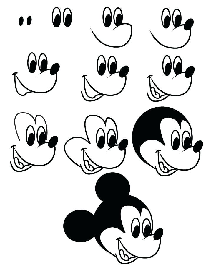 700x900 Easy Draw Mickey Mouse Cartoon Drawing Of Mickey Add A Bow
