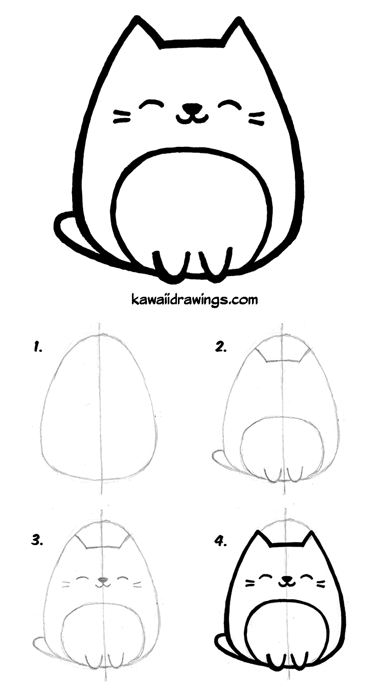 736x1375 How To Draw Kawaii Cat In Easy St Kawaii Drawing Tutorial