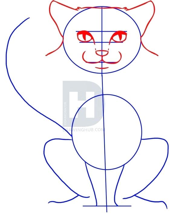 562x720 draw cat face outlining the cat with violet draw cartoon cat face