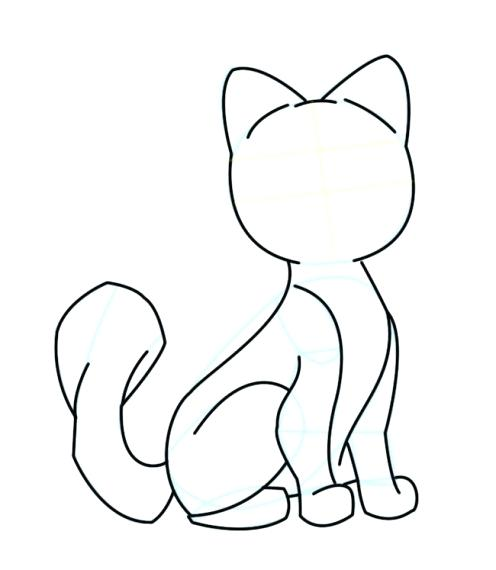 496x570 How To Draw A Cartoon Cat Easy Easy Sketch Cat Google Search Art