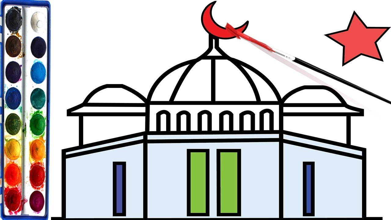 1280x720 How To Draw Mosque Coloring Pages For Children, Learn Colors Step