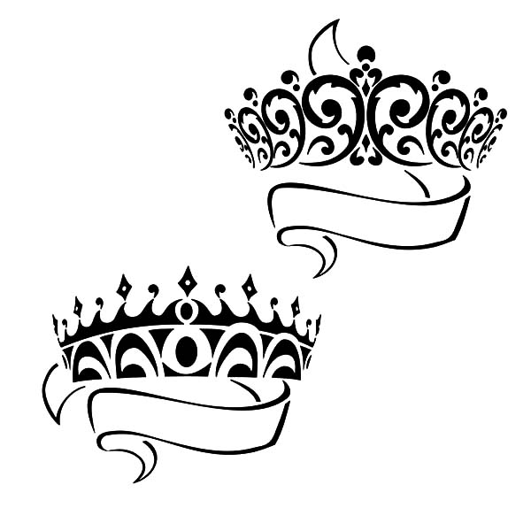600x600 Crown Drawing Prince And Princess Crown Coloring Pages Netart