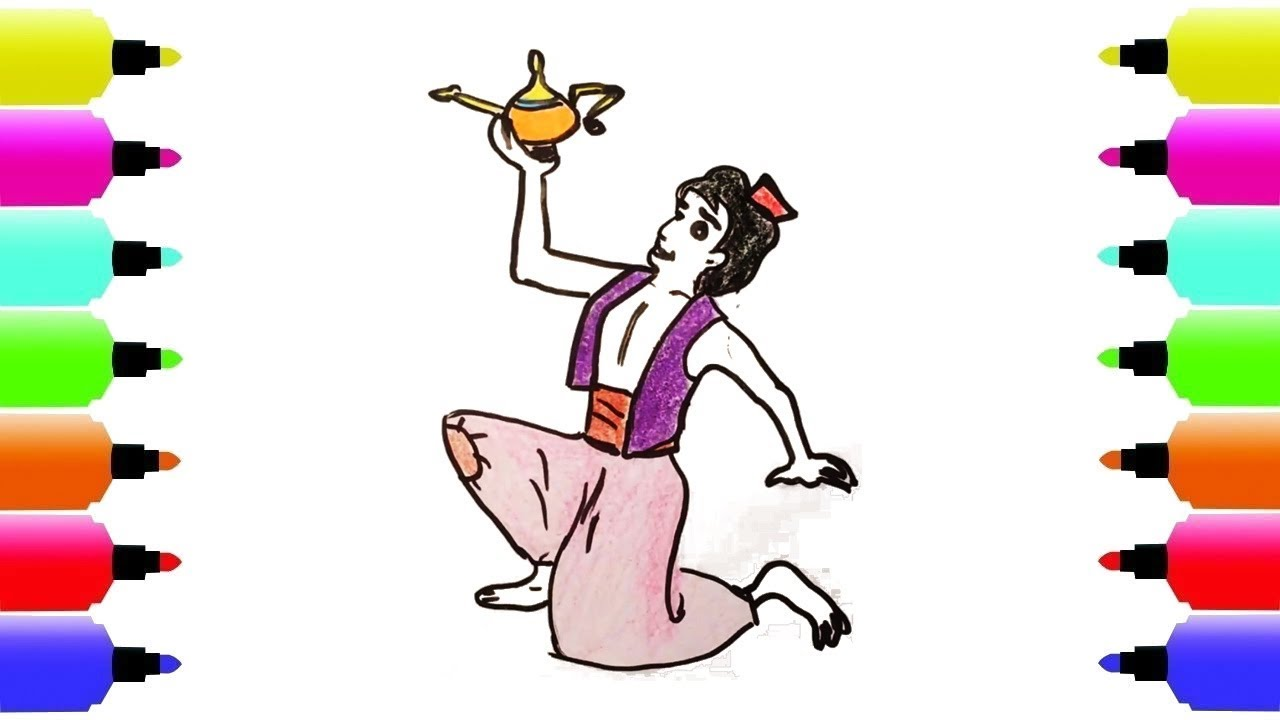 1280x720 How To Draw Aladdin And The Magic Lamp Step