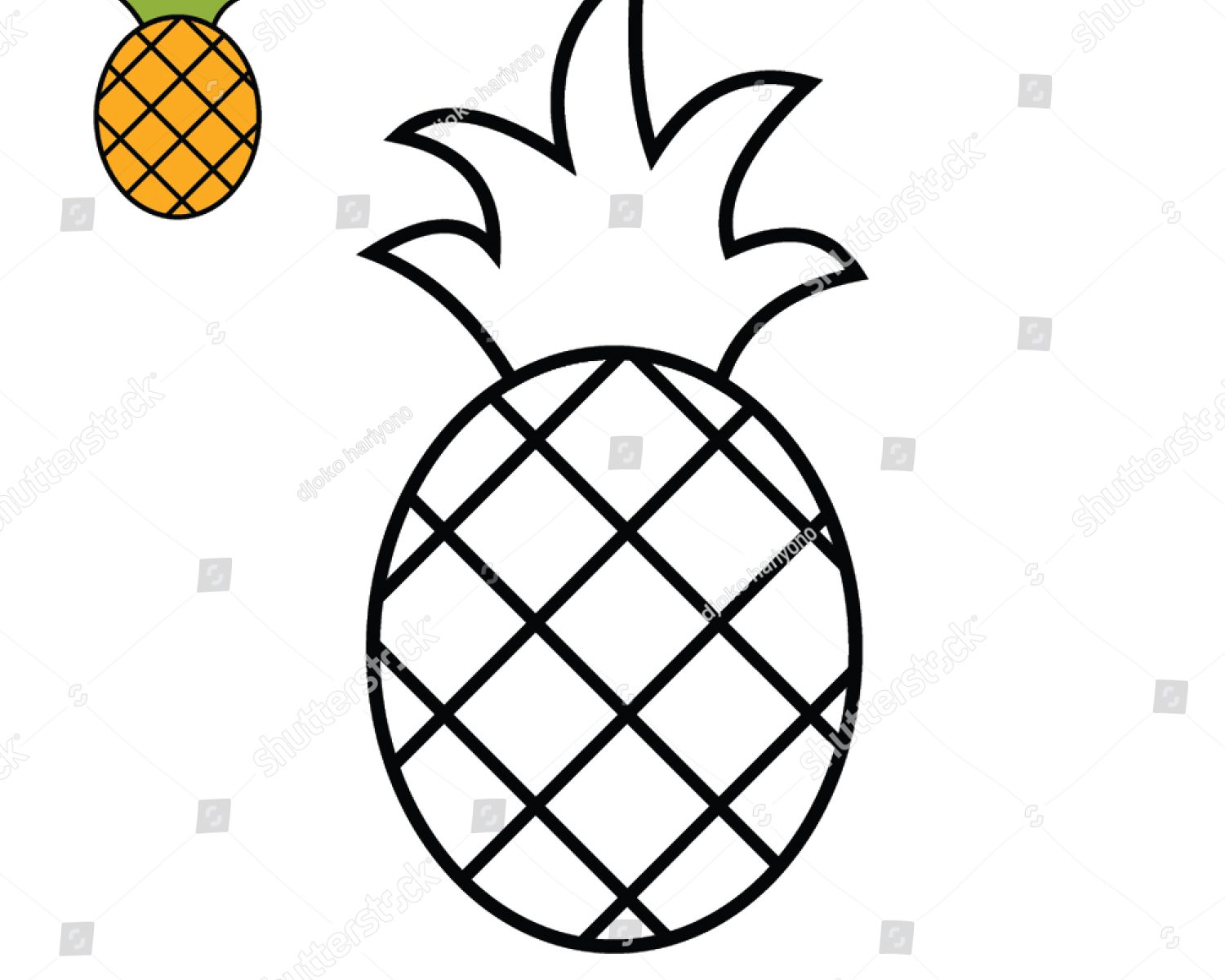 1500x1200 How To Draw Pineapple For Kids Drawing Tutorial Ripe Stock Vector
