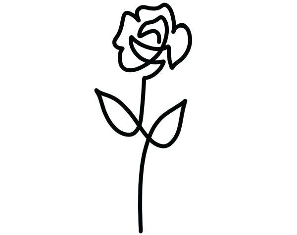 600x475 Simple Rose Drawing Simple Rose Outline Rose Flower Outline
