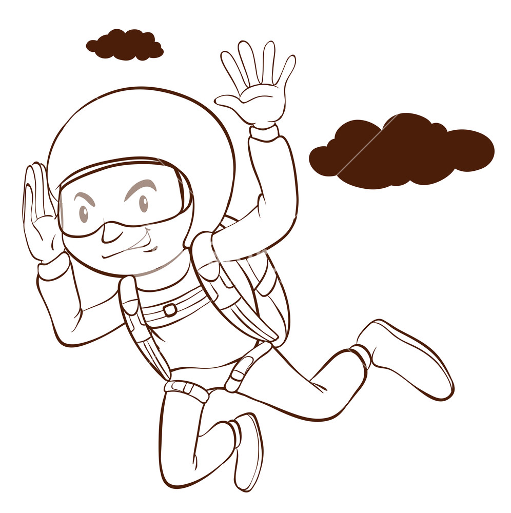 996x1000 A Plain Drawing Of A Man Skydiving On A White Background Royalty