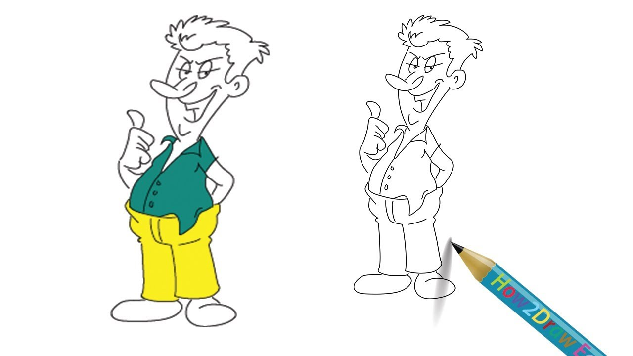 1280x720 How To Draw A Bad Man Cartoon Easy Step