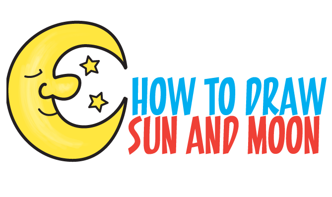 669x397 How To Draw A Cartoon Moon And Stars Easy Step