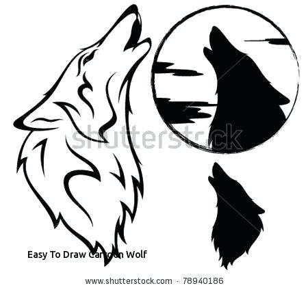 450x421 Wolf Drawings Easy Easy To Draw Cartoon Wolf Howling Wolf Vector