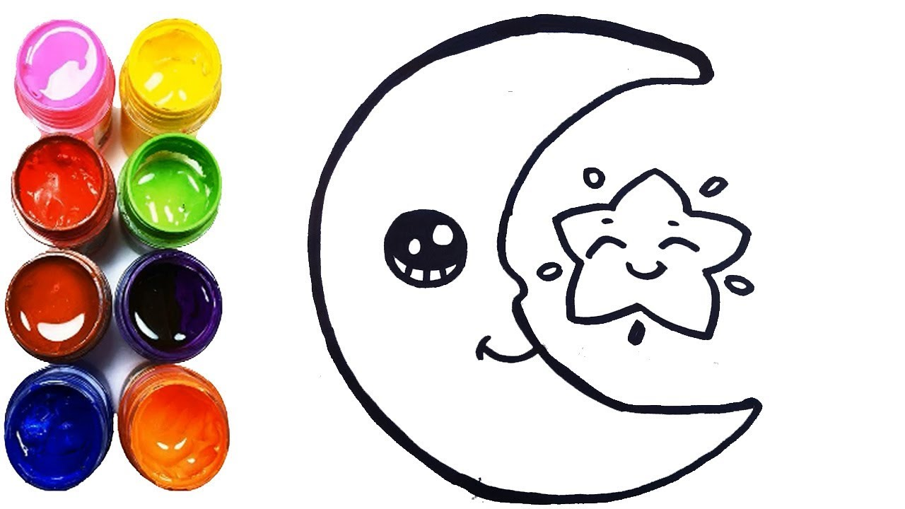 1280x720 Glitter A Moon Coloring And Drawing How To Draw A Moon Step