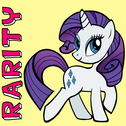 500x500 How To Draw Rarity From My Little Pony With Easy Step