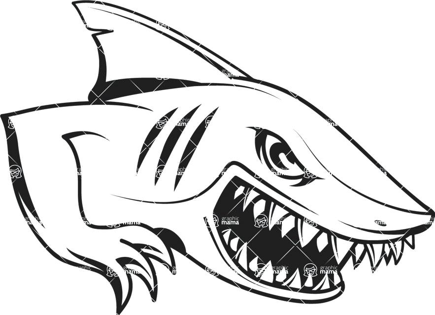 883x640 Shark Simple Drawing Simple Shark Mascot Graphic Easy Shark