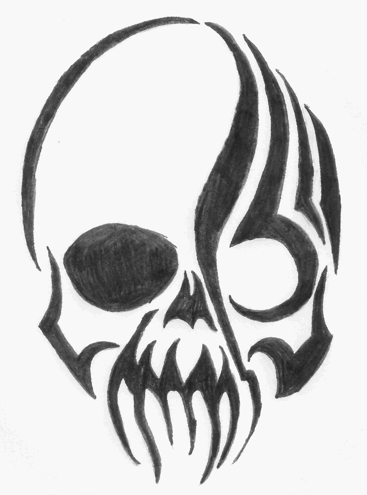 1267x1708 Easy Skull Drawings With Flames Cool Easy Skulls To Draw Fire