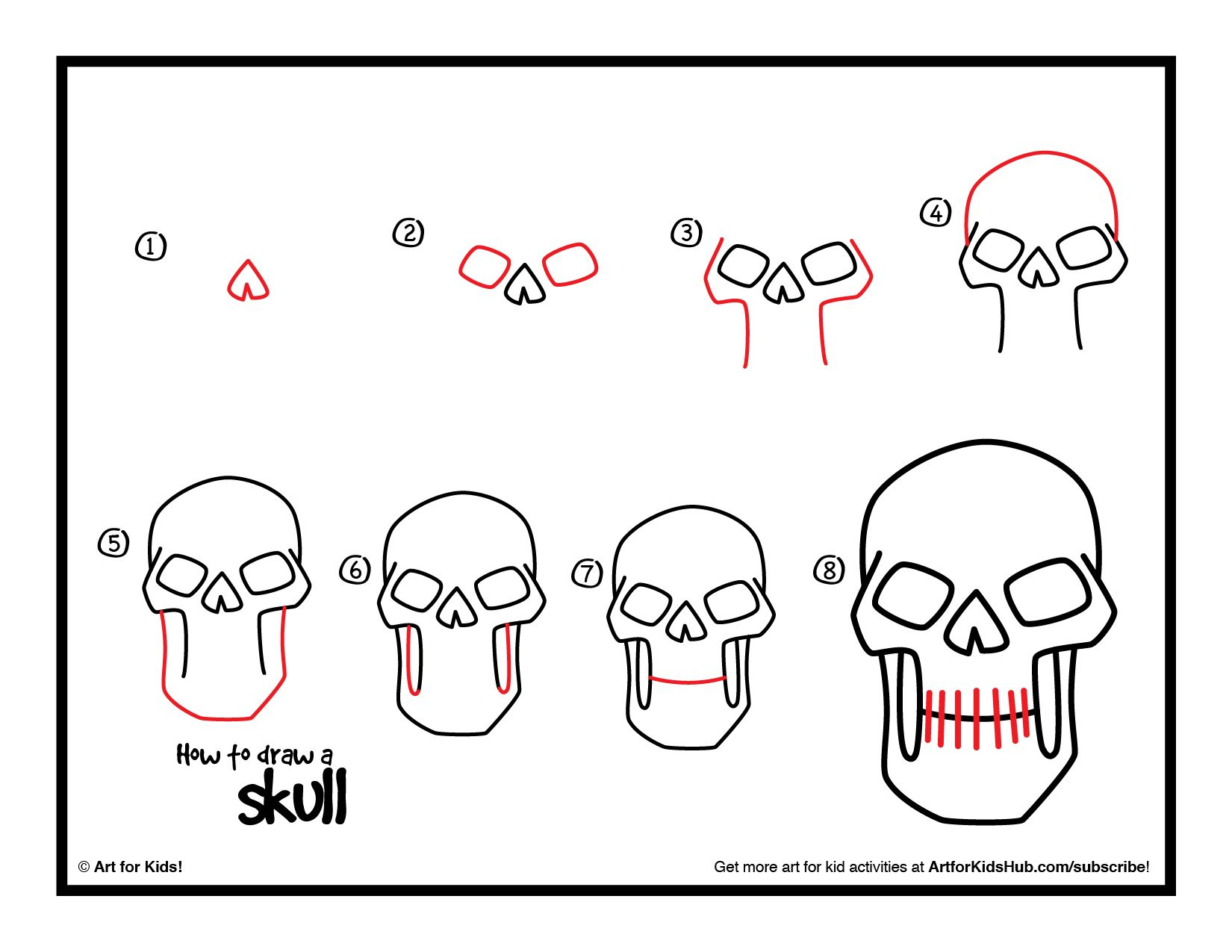 1650x1275 How To Draw A Skeleton Head Step