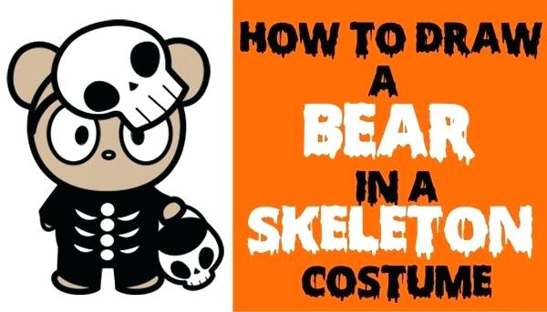 600x343 Skeleton Drawing Easy How To Draw A Cute Cartoon Bear Trick