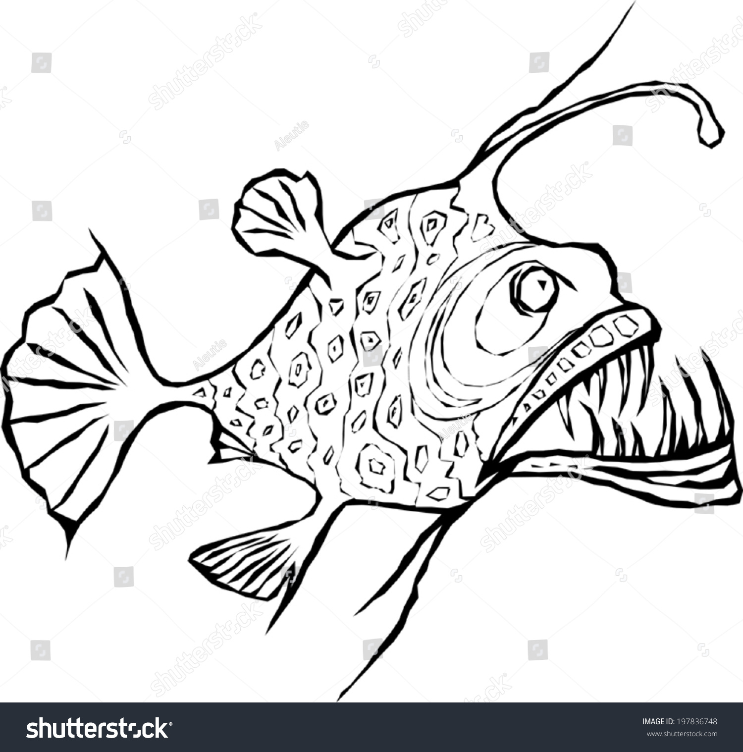 1500x1518 Angler Fish Skeleton Drawing Realistic Cartoon Easy Tutorial