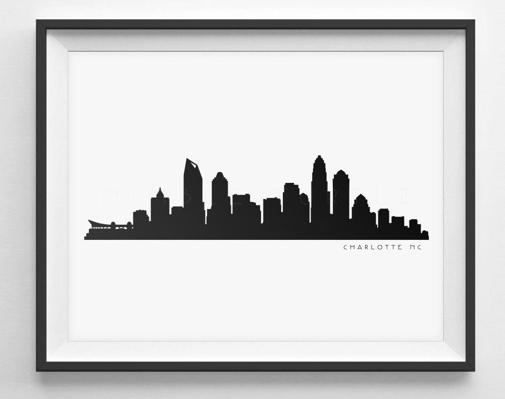 1000x790 Charlotte Skyline Silhouette Printable Skyline Etsy