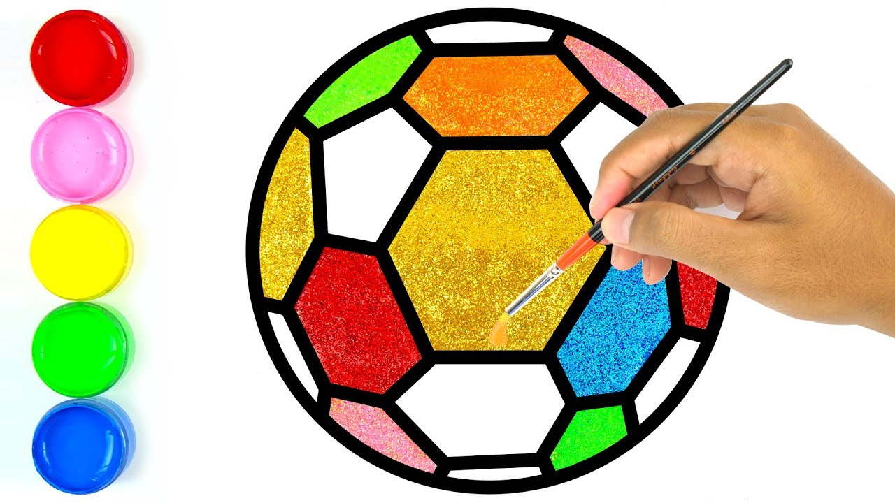1280x720 Glitter Soccer Ball, Football Coloring Pages Learn Colors For Kids