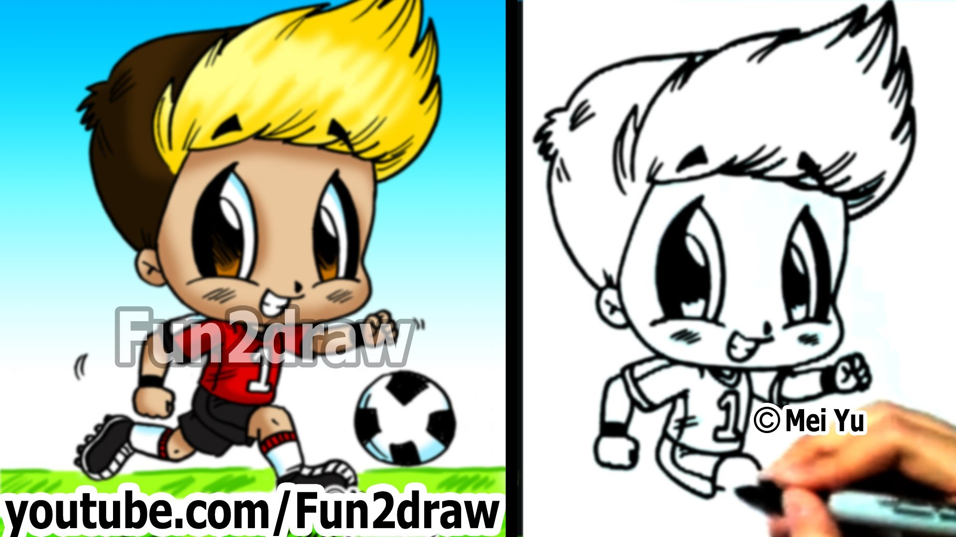 1920x1080 How To Draw Chibi How To Draw A Soccer Player Drawing