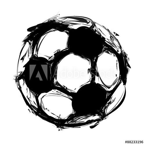 500x500 Grunge Soccer Ball On White, Easy All Editable